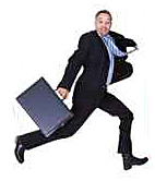 Businessman Running In Front Of Sale Sign