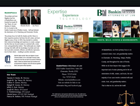 BaskinFleece Law Firm:  Trifold (3 panel brochure).